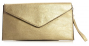 Big Handbag Shop Womens Faux Leather Envelope Clutch Bag with Long Shoulder Strap