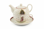Villa d 'Este Home Tivoli Snow Bone China Tea for One, Multi-Colour