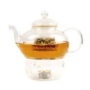 Lantelme 6803 Glass Tea Pot with Warmer Glass Jug for Tea or Coffee Enjoyment