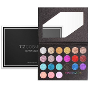 TZ COSMETIX - Pro 18 Glitter Eyeshadow and 3 Glitter Lip Gloss Diamond Powder Makeup Palette ALL 21 COLOURS TZ-21-WZ
