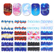 Born Pretty Nail Art Water Decal Christmas Snowflakes Deer Feather Manicure Transfer Sticker DIY Decoration 12 Patterns