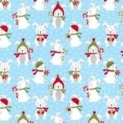 Cotton Fabric - Fat Quarter - Robert Kaufman - Frosty Friends - Rabbits Sky