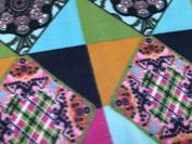 Diamond in Square Print Fleece Fabric Green Multi - per metre