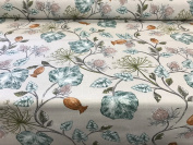 """Parchment Teal/Grey English Designed Printed Cotton 140cm/54"""" Designer Material Sewing Upholstery Curtain Craft Fabric (Metre)"""