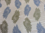"Palms Wedgewood Satin Leaf Jacquard 140cm/54"" Designer Material Sewing Upholstery Curtain Craft Fabric (Metre)"