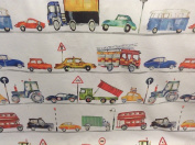 "On The Road Tractors/Diggers Red/Yellow/Blue/Green Cotton 140cm/54"" Designer Material Sewing Upholstery Curtain Craft Fabric"
