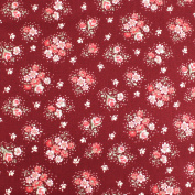 Floral on Dark Red Leading Brand 100% Cotton Fat Quarter FQ Quilting, Bunting, Craft Fabric FQ131C