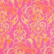 Gold Damask Style on Pink Leading Brand 100% Cotton Fat Quarter FQ Quilting, Bunting, Craft Fabric FQ134A