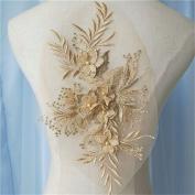 A5 3D beaded sequence lace applique motif sewing bridal wedding 33cm*20cm