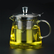 HZZymj-Flower pot temperature thickened bubble teapot stainless steel filter tea leak pot black tea teapot glass teapot , 950ml