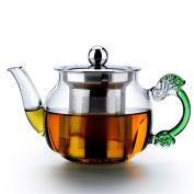 HZZymj-High temperature glass apple steel leak teapot mini small capacity glass teapot with filter liner steel drain pot