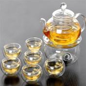 HZZymj-Creative gift heat-resistant transparent glass tea set , B