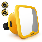 NEW & IMPROVED MODEL | ROYAL RASCALS Baby Car Mirror | #1 SAFEST rear view mirror for rearward facing child seat | SAFETY YELLOW | Fits any adjustable headrest | 100% shatterproof | ULTRA PREMIUM SAFETY PRODUCT