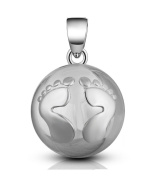 & # x2665; Pregnancy Bola Silver Jewellery Pendant with Little Feet Relief . with Tracking.