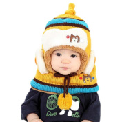 Koly Kids Boys Girls Winter Warm Cute Woollen Coif Hooded Hat Scarf Set Gift Caps Hat