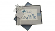 White Cotton Cards New Baby, Small Photo Album, Blue Toys