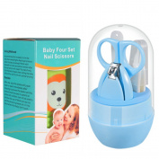 Cosprof Baby Grooming Set - Nail Clippers & Nail Scissors & Nail File & Tweezers With Transparent Storage Case
