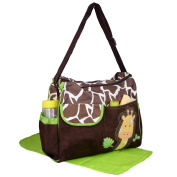 Kroo Multi & adjustable Baby Nappy Nappy Changing Bag with shoulder strap in Green Giraffe Pattern
