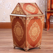 Sunny Dream Household Garbage, Creative Cover Bedroom Retro Wooden Trash Can Shake The Garbage In The Living Room And 6 Cover