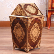 Sunny Dream Household Garbage, Creative Cover Bedroom Retro Wooden Trash Can Shake The Garbage In The Living Room And 4 Cover