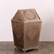 Sunny Dream Household Garbage, Creative Cover Bedroom Retro Wooden Trash Can Shake The Garbage In The Living Room,5 Cover