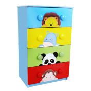 Fantasy Fields by Teamson Sunny Safari Childrens Wooden 4 Drawer 8 Handle Furniture Cabinet Chest TM-0102A