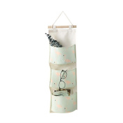 HENGSONG Flamingo Hanging Storage Bag Cotton Linen Wall Door Closet Wall Storage Organiser with 3 Pockets