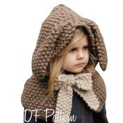 Smile YKK Children Kids Rabbit Ears Woollen Winter Warm Cape Hood Hat
