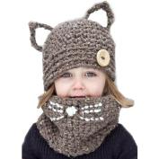 Smile YKK 2pcs Children Animal Cat Ear Hand Woven Neckerchief Beanies Hat