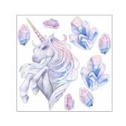 display08 Cartoon Unicorn Painting Shiny Rhinestones Wall Stickers DIY Kids Home Decor