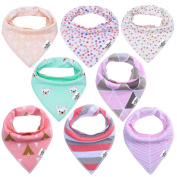 Storeofbaby Baby Bandana Drool Bibs Ultra Soft Absorbent Pack of 8 for Girls Gift Set