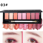 Eyeshadow Palettes, QHJ 8 Colour Nude Makeup Eye Shadow Palette Smoky Glitter Matte Make Up Brush Tool