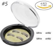 4Pcs/1Pair Azmall False Magnetic Eyelashes Magnetic 3D False Eyelashes Beauty Makeup Accessories Soft Hair Natural Extension Long False Eyelashes - #5