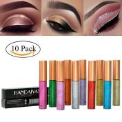 SHEMROW 10 Colours Eyeliner Glitter Waterproof Shimmer Pigment Silver Gold Metallic Liquid Glitters Eyeliner