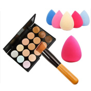 Cosmetic Brushes, Xinantime 15 Colours Makeup Concealer Contour Palette + Water Sponge Puff + Makeup Brush