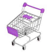 Fanxing New Fashion MINI Shopping Cart Kids Toy Creative Desktop Shelves Puff Storage Rack Purple