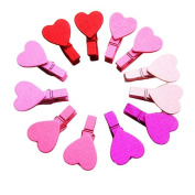Fanxing New Fashion 12Pcs Mini Heart Love Wooden Clothes Photo Paper Peg Pin Clothespin Craft Clips