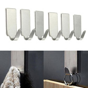 Fanxing New Fashion 6PCS Self Adhesive Home Kitchen Wall Door Stainless Steel Holder Hook Hanger