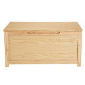 WEIBO Large Oak Wooden Storage Chest Toy Box Blanket Trunk