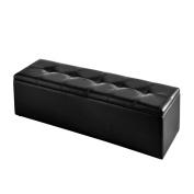 todomuelble Elio Upholstered Chest, Wood, 120 x 35 x 45 cm 120 x 35 x 45 cm Black