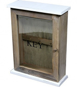 Shabby Chic Wooden Key Box KEYS Holder Storage Hooks Wall Mounted