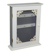 Shabby Chic Wooden Key Box KEYS Holder Storage Hooks Wall Mounted Black White