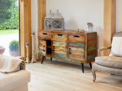 Sandy Baudouin Large Sideboard With Metal Legs and Rustic Finish