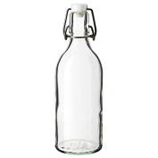 Classic Style Clear Glass with stopper Bottle, Transparent Glass Canister Brewed Wine, High 28Cm, Diameter 8Cm