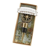 EXOH Novelty Antique Alloy Compass Our Adventure Begins Bottle Stopper