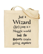 Just a Wizard Girl Living in a Muggle World - Harry Potter - Don't Stop Believin' - Tote Bag - Shopping Bag - Reusable Bag - Bag For Life - Beach Bag - Totes - Funky NE Ltd®