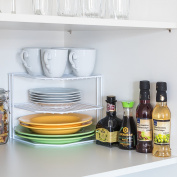Tatkraft FRAME 3 Level Corner Cupboard Organiser Add-Shelf for Kitchen Storage, L23.5xH20xD23 cm White