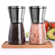 Salt and Pepper Grinder Set - Salt Grinder & Pepper Mills with Bamboo Plate | Coarseness Adjustable Salt and Pepper Shaker - Brushed Stainless Steel Encasing and Glass Body