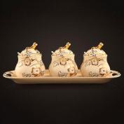 houyuanshun Ceramic Seasoning Sets Of Luxury Kitchen Supplies Storage Tank Three - Piece Seasoning Tank Set