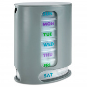 MEDca Weekly Pill Organiser, 1 Dispenser, 7 Stackable Compartments with 4 Sections - Morning, Noon, Evening, Bedtime, Grey.